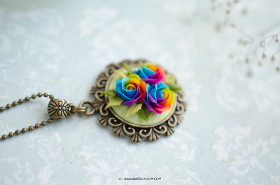 Polymer clay rainbow rose jewelry