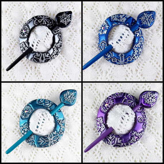 Polymer clay shawl pin hair accessories