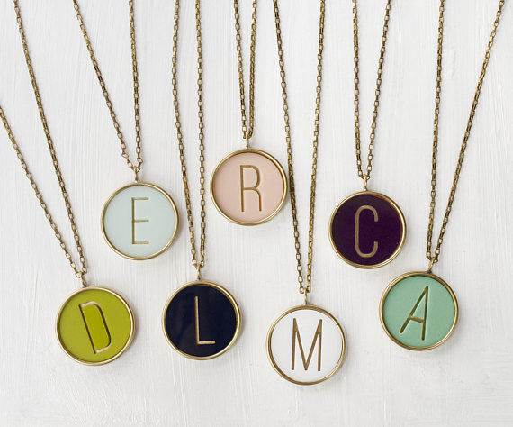 Polymer clay personalized initial necklace