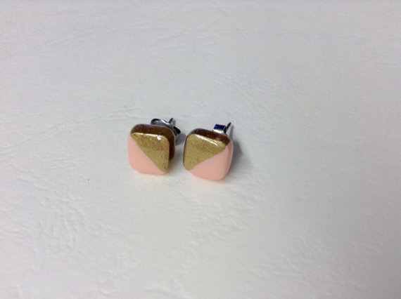 Square powder pink & gold small stud earrings,tiny stud earrings,titanium stud earrings,Valentine's day gift,8x8 mm