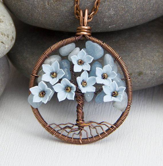 Tree-Of-Life Necklace Aquamarine Pendant Copper Wire Wrapped Pendant ...