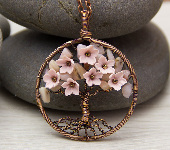 Polymer clay tree with flowers pendant