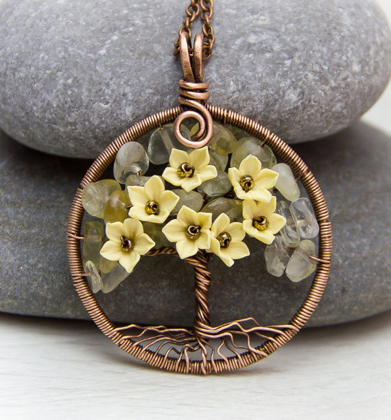 Tree-Of-Life Necklace Pendant Copper Wire Wrapped Pendant Citrine ...