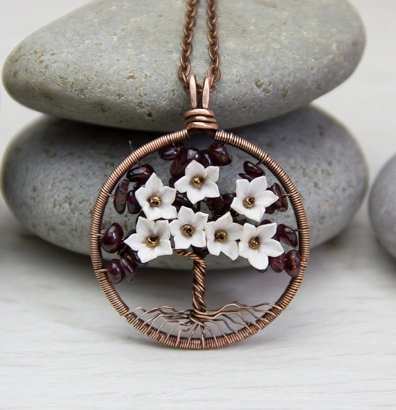 Tree-Of-Life Necklace Pendant Garnet Stone Copper Wire Wrapped ...