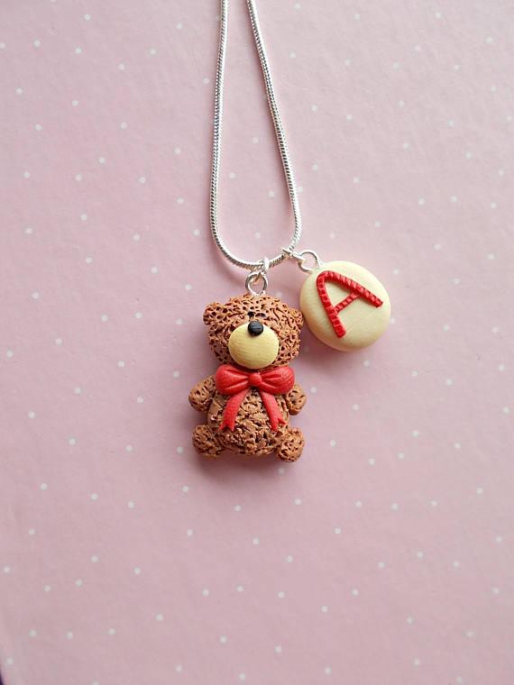 Valentine Necklace U2013 Personalized Necklace U2013 Letter Name Necklace U2013 Teddy  Bear Jewelry U2013 Birthday Aniversary Gift U2013 Valentineu0027s Day Gift