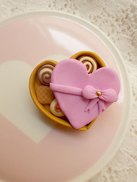Valentine Pin - Pralines Jewelry - Gift for her - Gift for Mom Wife Girlfriend - Valentines Presents - Valentines Day Gift