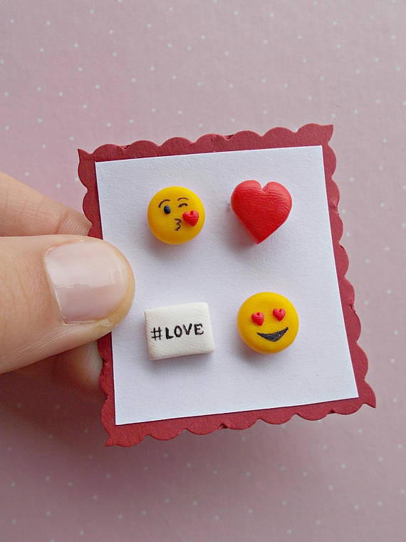 Valentine's Day Earrings Set - Emoticons Stud Earrings - Funny Earrings Set - Kiss Earrings - Gift for her