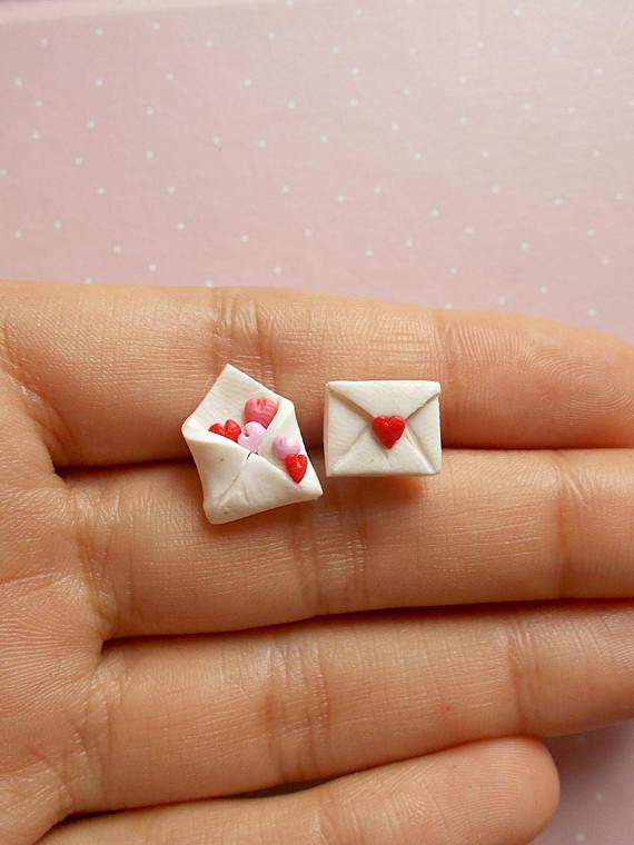 Valentine's Earrings - Heart Earrings - Love Letter Earrings - Children Earrings - Couple Funny Earrings - Valentines Day Gift