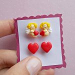 Valentines Earrings Set – Cupid Earrings – Be my Valentine Gift – Stud Earrings – Heart Jewelry – Kids Angel Earrings – Gift for her