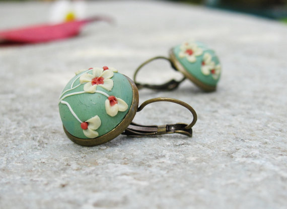 Vintage mint polymer clay jewelry set