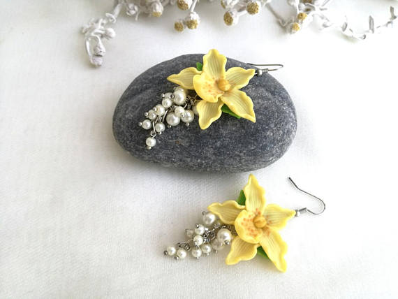 Polymer clay Orchid flower jewelry