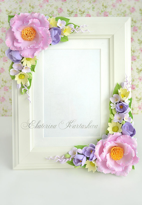 Polymer clay flowers picture frame