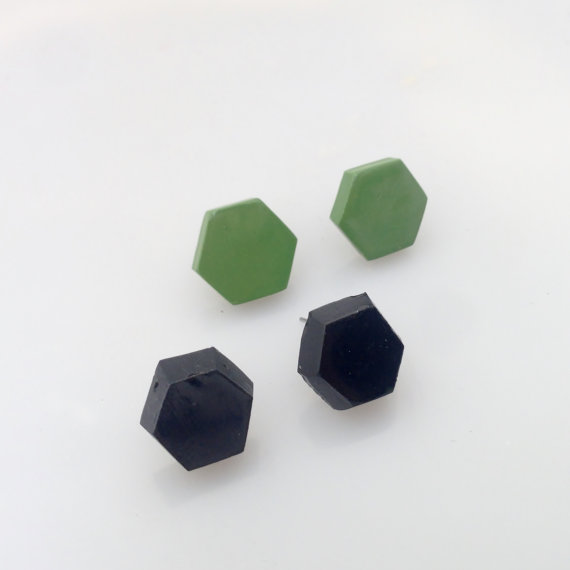 Polymer clay hexagon stud earrings
