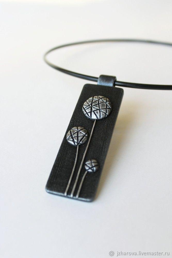 Polymer clay rectangular pendant dandelion flowers