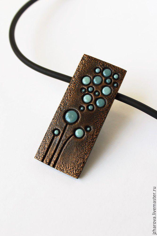 Polymer clay rectangular pendant dandelions