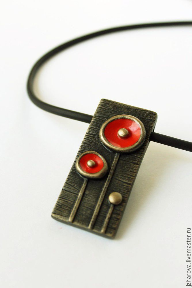 Polymer clay rectangular pendant red flowers