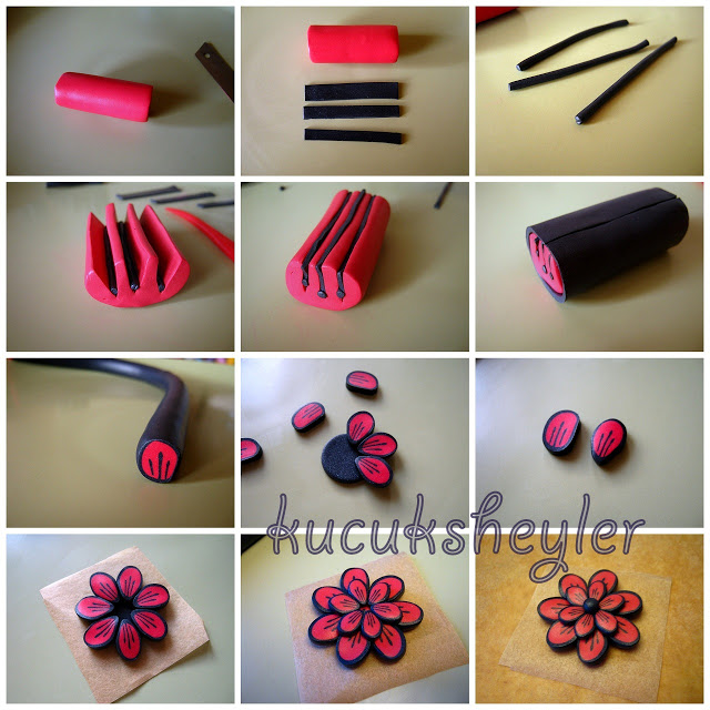 Polymer clay red and black flower pendant tutorial diy step by step polymer clay red and black flower pendant tutorial diy step by step tutorial aloadofball Images
