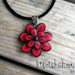 Polymer clay red and black flower brooch tutorial