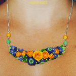 Polymer clay statement floral necklace 2