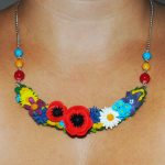 Polymer clay statement floral necklace 1
