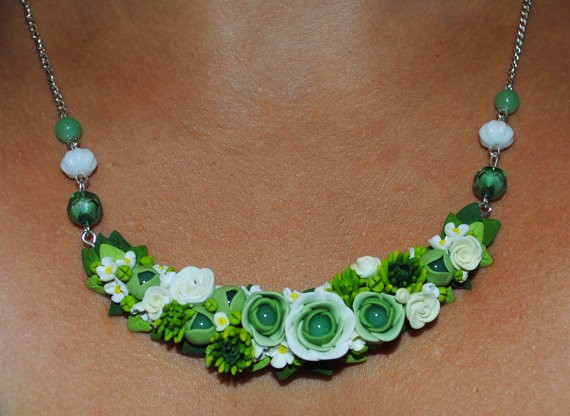 Polymer clay statement floral necklace