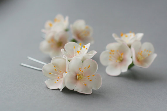 Polymer clay white bridal hair pin