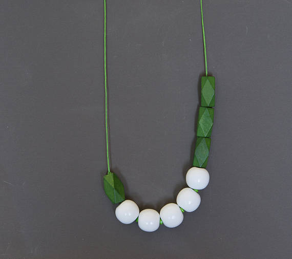 Asymmetric necklace Boho necklace Beadwork necklace Green necklace White necklace Geometric necklace Wooden Glass necklace Metal free