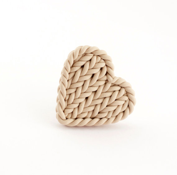 Beige heart ring - knit imitation ring - polymer clay beige knitted heart ring