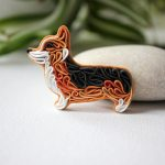 Polymer clay Fox brooch, Fantasy Fox pin, blue Fox brooch, Pattern fox brooch, Fox gift, Fox lovers, Fox accessories, Forest animal