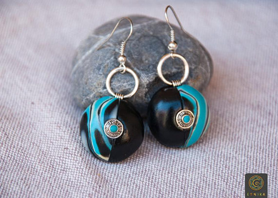 Elegance Woman Earrings Classic Clay Boho Chic Earrings Black Turquoise Earrings Silver Dressy Earrings Wife Gift Christmas Boho Lovers Gift