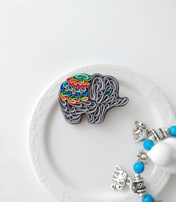 Elephant brooch, polymer clay elephant pin, grey rainbow elephant jewelry, elephant ornament, elephant lover gift, animal brooch, tiny art