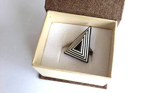 Fashion Ring,Triangle Ring, Abstract Ring, Polymer Clay Ring, Modern Ring