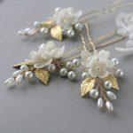 Gold Bridal hair pin Flower Wedding hair pin Flower Bridal hair pin Bridal headpiece Wedding headpiece Pearl hair pin Leaf hair pin
