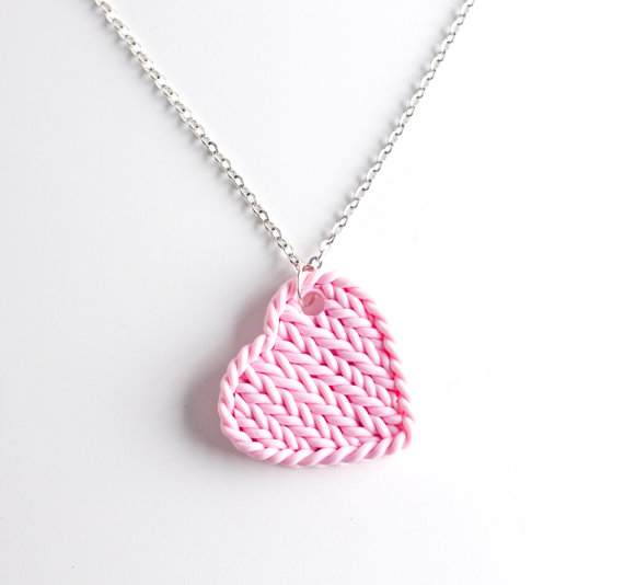 Heart pendant necklace - knitted pink heart - pink knit imitation - pink heart pendant - polymer clay knitting imitation heart