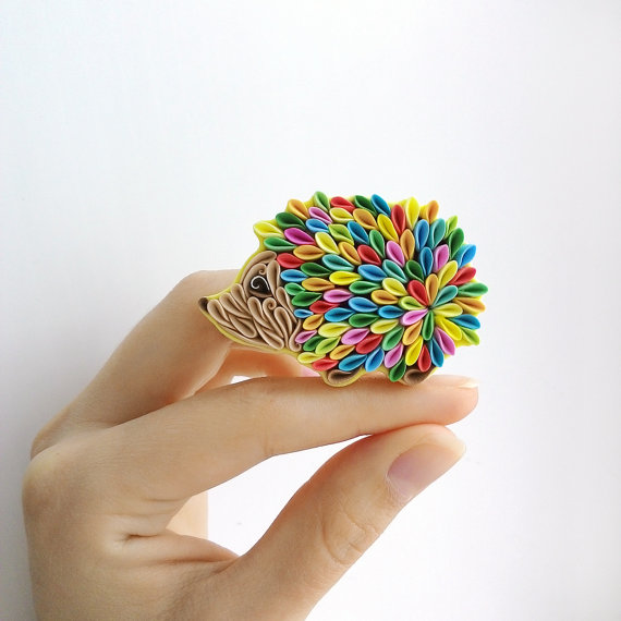 Hedgehog necklace, polymer clay Hedgehog gifts, Hedgehog jewelry, Hedgehog accessories, rainbow Hedgehog art, forest animal, rainbow artwork