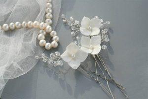 Polymer clay white bridal hair pin
