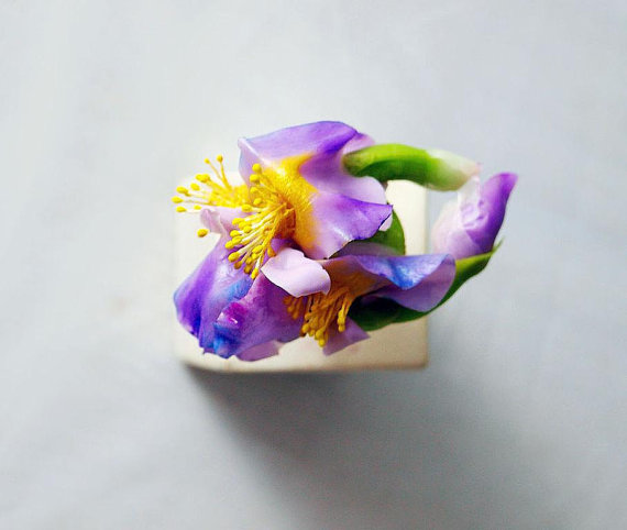 Iris flower ring, floral unique delicate rings, gift for her, floral flowers Jewelry