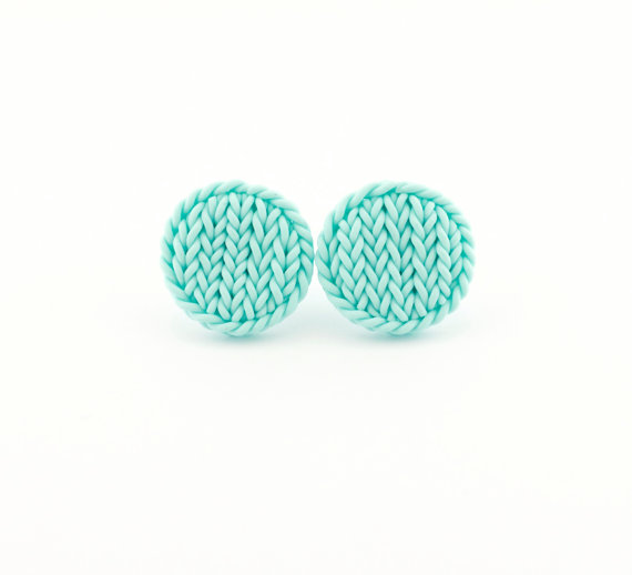 Knit imitation earrings - faux knit earrings - little earrings - mint earrings studs - round earrings - small earrings - gift idea