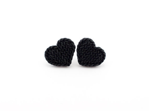 Little Black Heart Earrings Knit Imitation Earring Studs Polymer Clay Tiny Hearts
