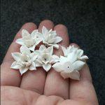 Light blue lilac polymer clay flowers, polymer clay flower bead