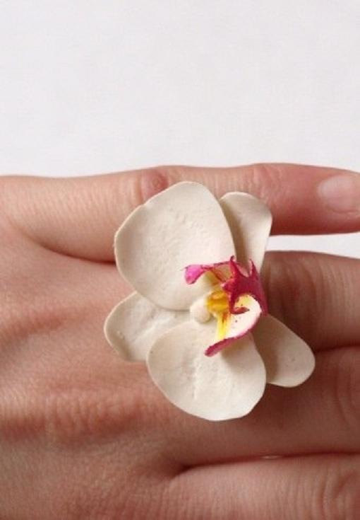 Orchid Ring, Adjustable Flower Rings, orchid white flowers jewelry, unique and delicate