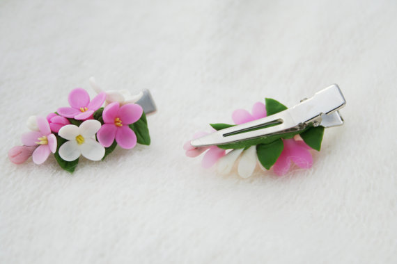 Handmade polymer clay hair barrette