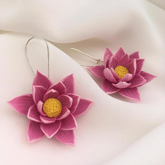 Pink lotus earrings, Polymer clay jewelry, Flower earrings, Gift for her, Floral jewelry, Bridesmaid gift, Wedding jewelry, Lotus earrings