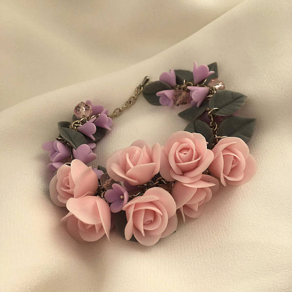 Pink rose bracelet, Polymer clay jewelry, Pink flower bracelet, Gift for her, Gray purple bracelet, Girls bracelet, Coconut rose bracelet