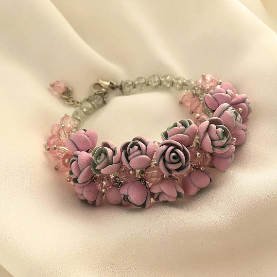 Pink polymer clay jewelry