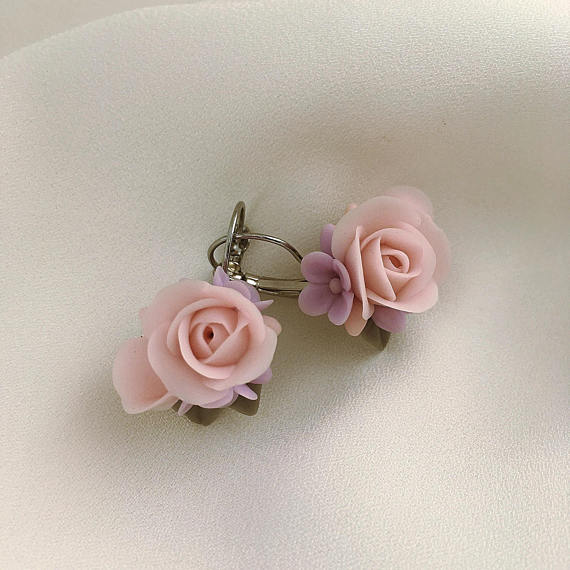 Pink rose earrings, Polymer clay jewelry, Gift for her, Floral jewelry, Gray purple earrings, Coconut flower earrings, Girls rose earrings