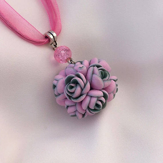 Pink rose necklace, Circle pendant necklace, Polymer clay jewelry, Flower pendant, Gift for her, Rose floral pendant, Girls pink necklace