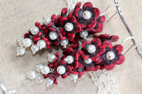 Polymer clay floral cluster earrings