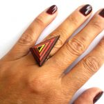 Polymer Clay Orange Ring, Fashion Ring,Triangle Ring, Abstract Ring, Modern Ring