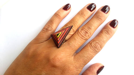 Polymer Clay Ring, Fashion Ring,Triangle Ring, Abstract Ring, Modern Ring, Fimo Ring